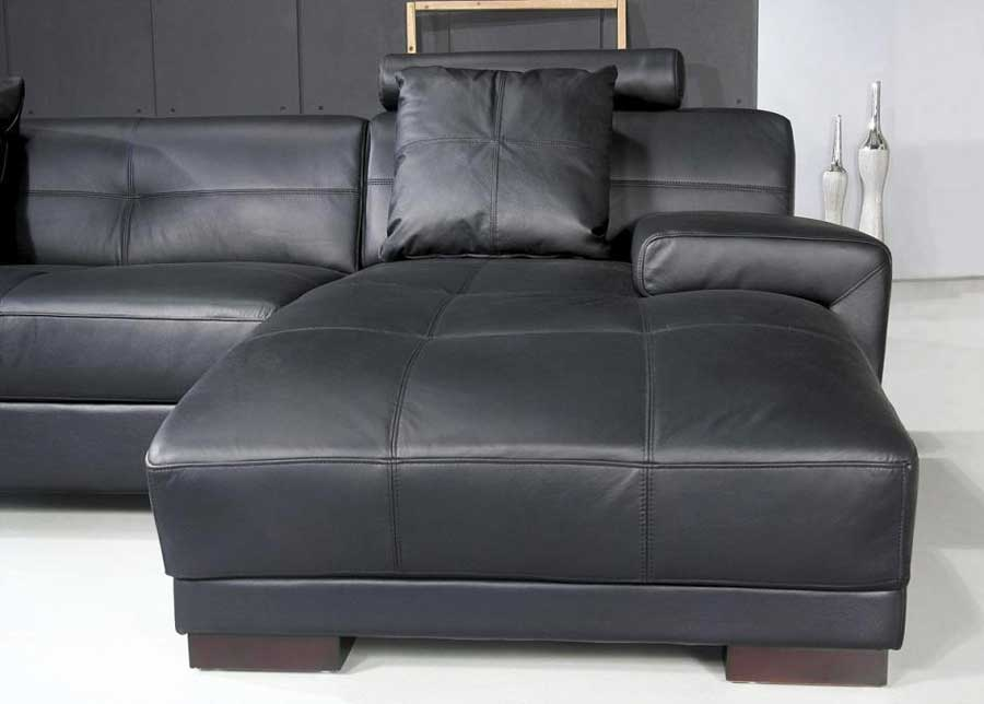 ... Omega Modern Black Leather Sectional Sofa ... : black sectional sofa bed - Sectionals, Sofas & Couches