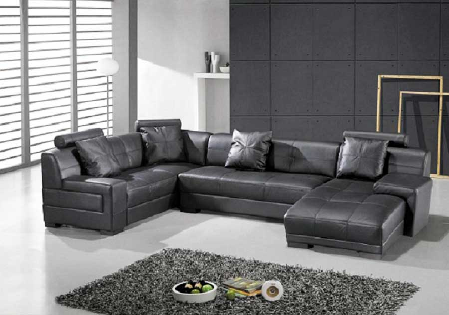 Omega Modern Black Leather Sectional Sofa | Leather Sectionals