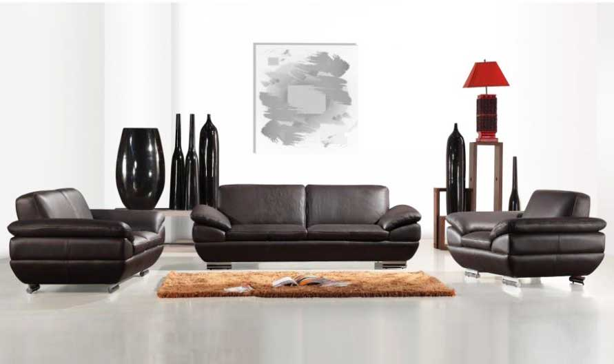 Italian Leather Sofa Set In Espresso Finish Leather Sofas