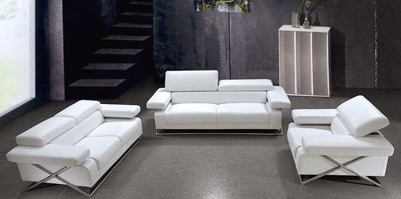 Bon Linda Modern White Leather Sofa Set VG 110