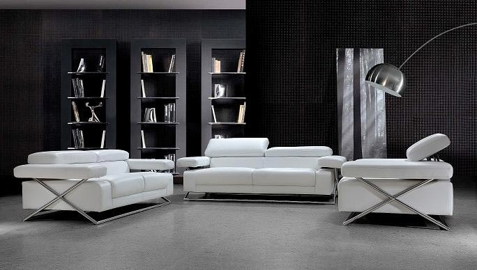 Linda Modern White Leather Sofa Set Vg 110