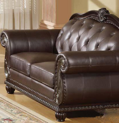 Dark brown leather sofa ac 150 traditional sofas for Traditional brown leather couch