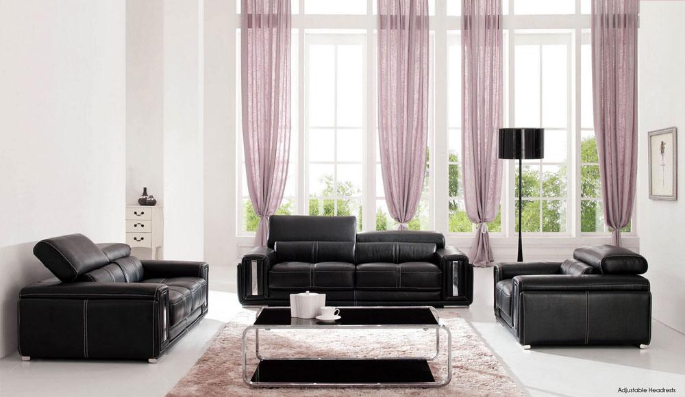 Modern Black Leather Sofa Set HE992 Leather Sofas