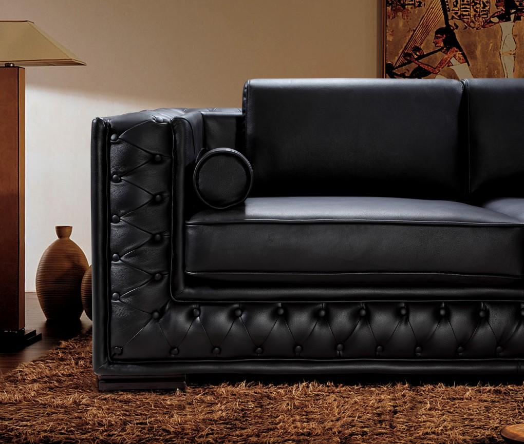 Black leather sofa set he 707 leather sofas for Couch sofa set