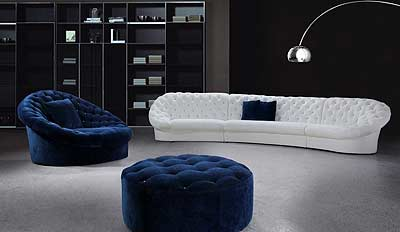 Leon Blue And White Sofa Set With Ottoman Fabric