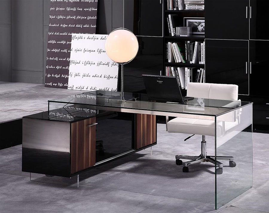 glamour modern office desk 02 - Modern Home Office Glass Desk