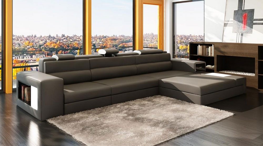 Grey Leather Sectional Polaris Mini | Leather Sectionals