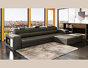 Grey Leather Sectional Polaris Mini