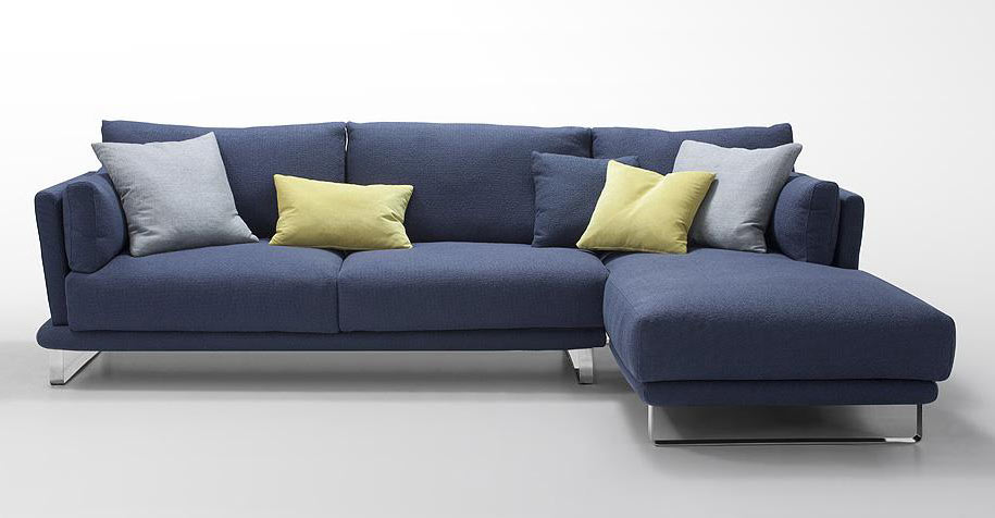 Modern Dark Blue Fabric Sectional Sofa Lucas Fabric Sectional