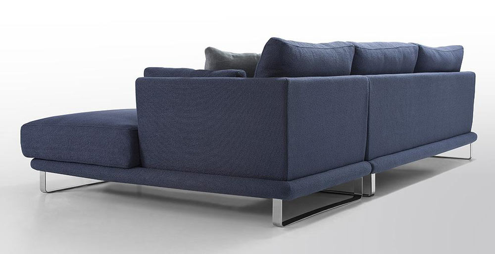 navy blue sectional sofa with chaise microfiber ikea modern dark fabric