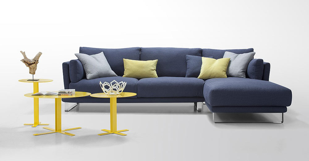 Modern Dark Blue Fabric Sectional Sofa Lucas