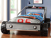 Silver Twin Race Car Bed