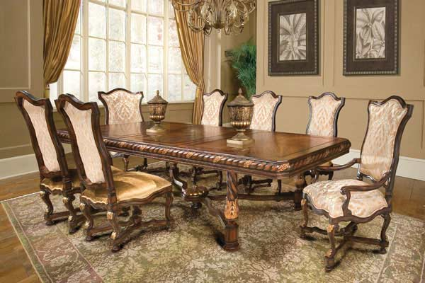Bt 038 classical italian extendable dining set classic for Classic dining room furniture