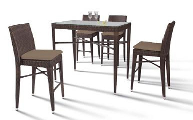 Reva outdoor bar set rectangular table and 4 chairs for Patio table and 4 chairs