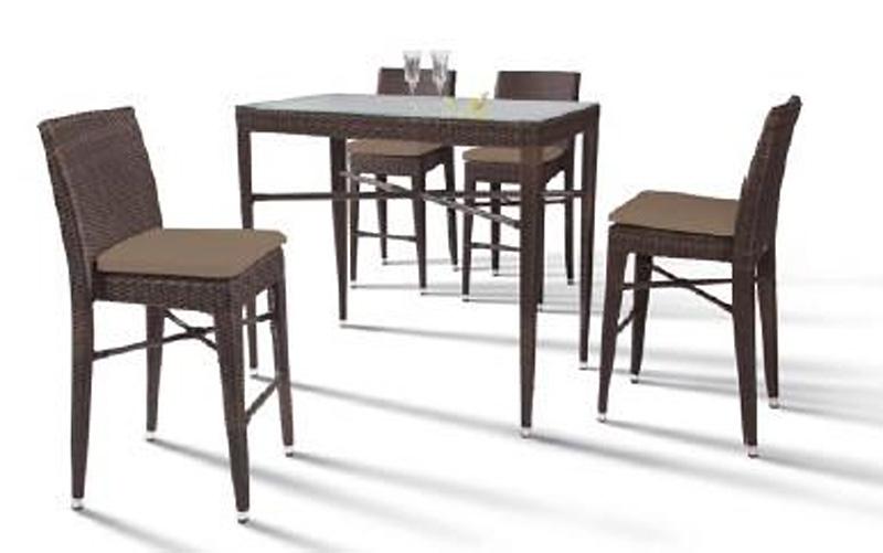 Reva outdoor bar set rectangular table and 4 chairs for Outdoor table and 4 chairs