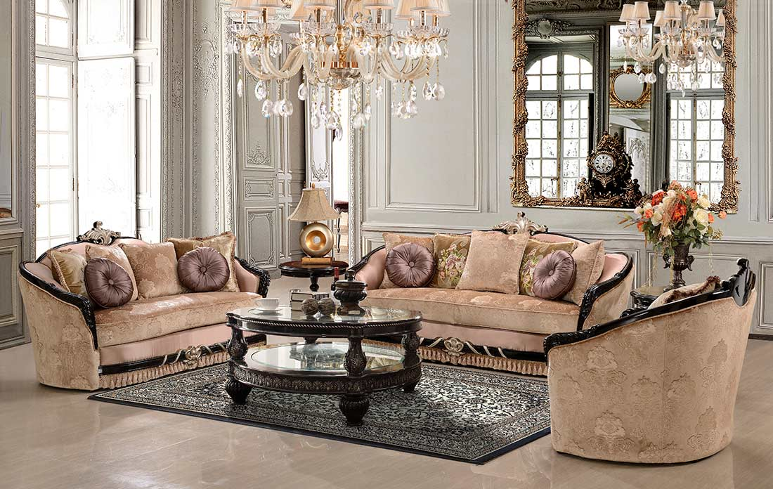 Traditional luxury sofa set hd631 traditional sofas for Exclusive living room furniture