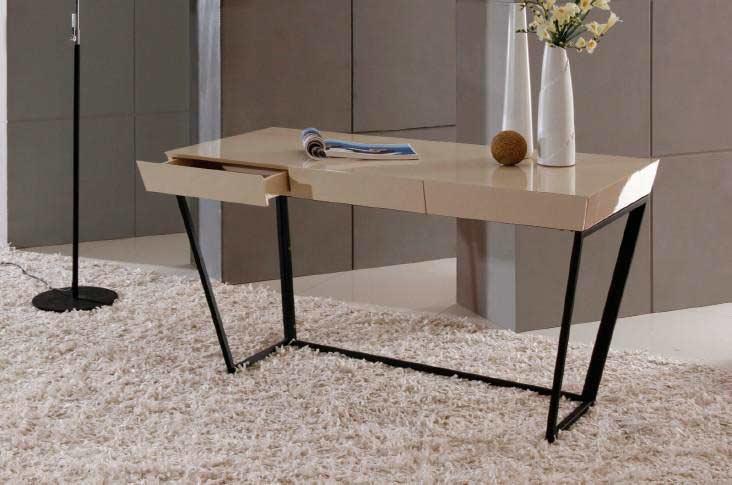 Modern Cream High Gloss Lacquer Office Desk VG715