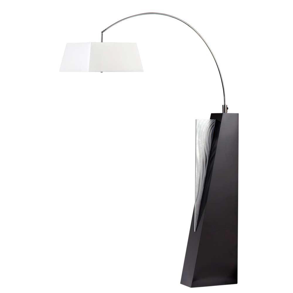Floor arc lamp with cream linen shade nl379 floor table - Arc floor lamp shade ...