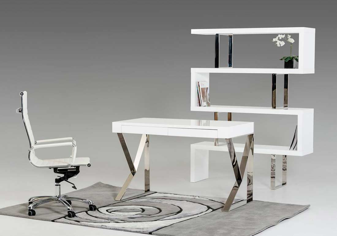 Contemporary White Lacquer Desk VG153