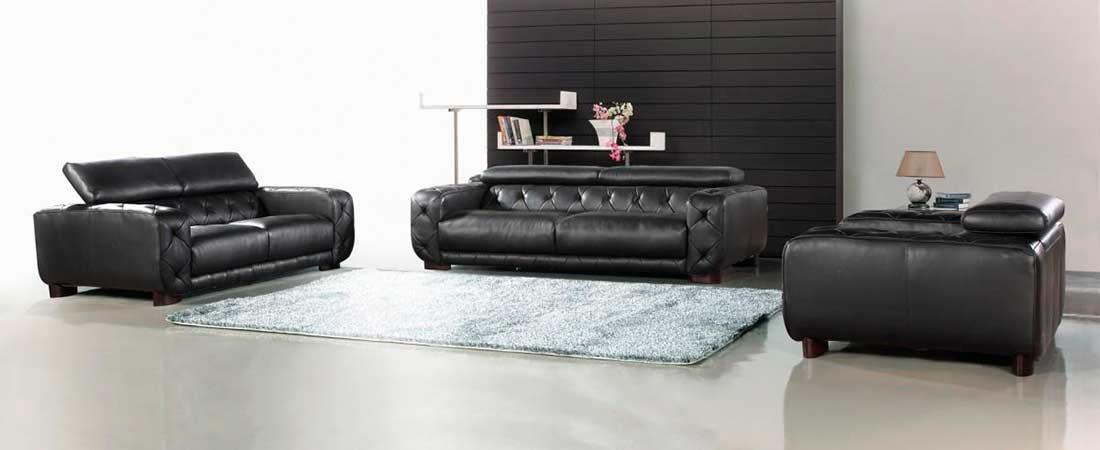 Modern black Italian Leather sofa set VG334 | Leather Sofas