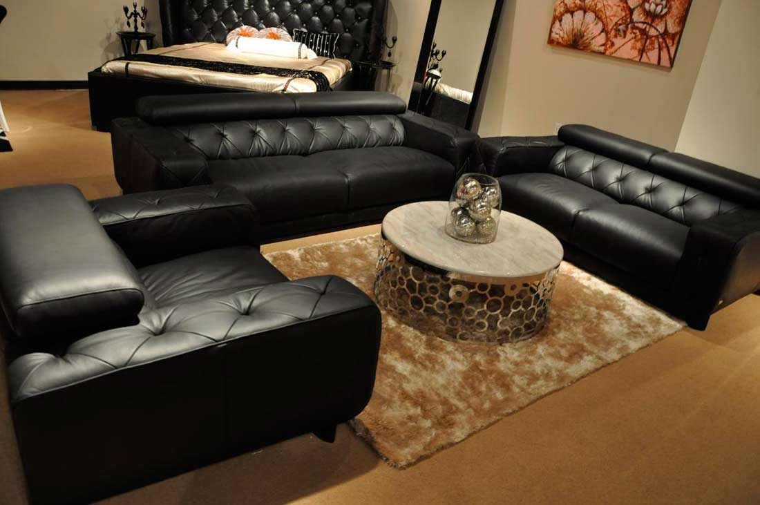 Modern black sofas - Modern Black Italian Leather Sofa Set Vg334