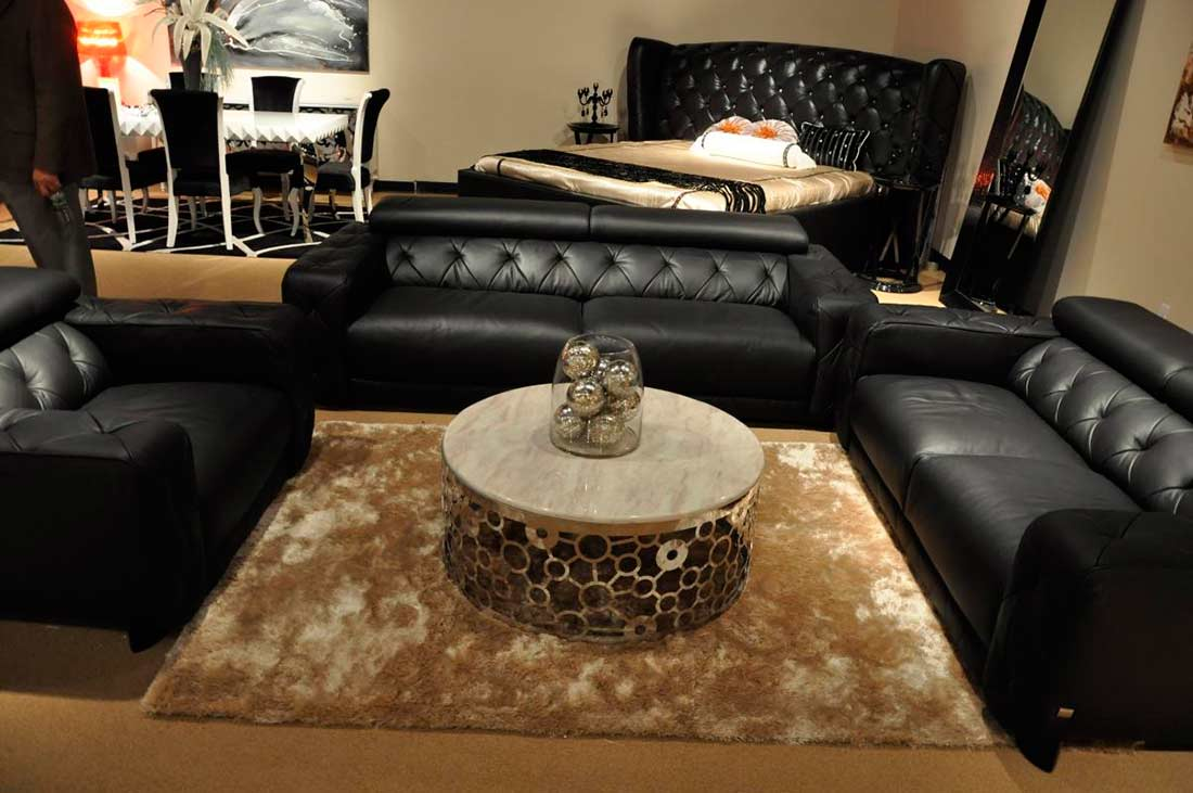 Modern Black Italian Leather Sofa Set VG334