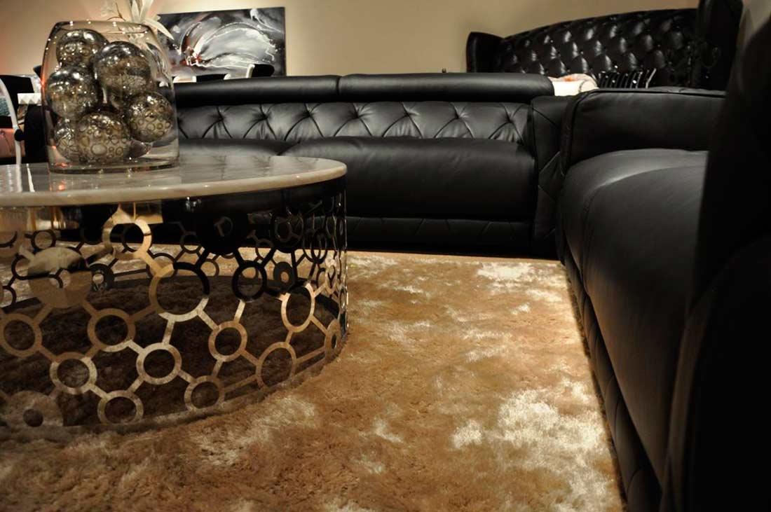 Modern Black Italian Leather Sofa Set VG334