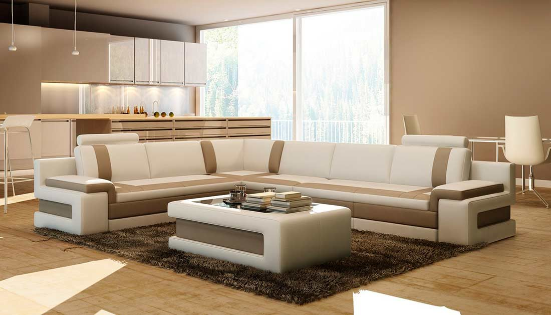 White with Brown leather sectional sofa VG083A | Leather ...