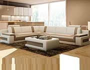 White with Brown leather sectional sofa VG083A