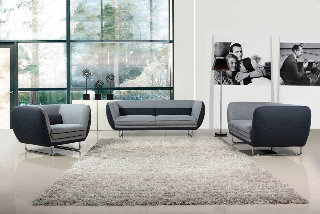 Modern Grey Two Tone Fabric Sofa Set VG360 Part 89