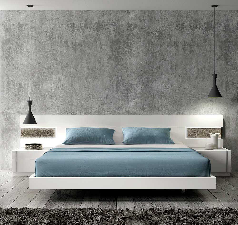 Contemporary Modern Beds: Contemporary White Lacquer Bed SJ Aletta