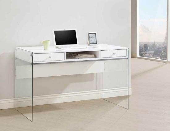 Grey Modern Desk With Glass Legs CO 818 ...