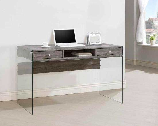 grey modern desk with glass legs co 818