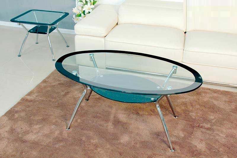 Oval Glass Top Coffee Table BM 029