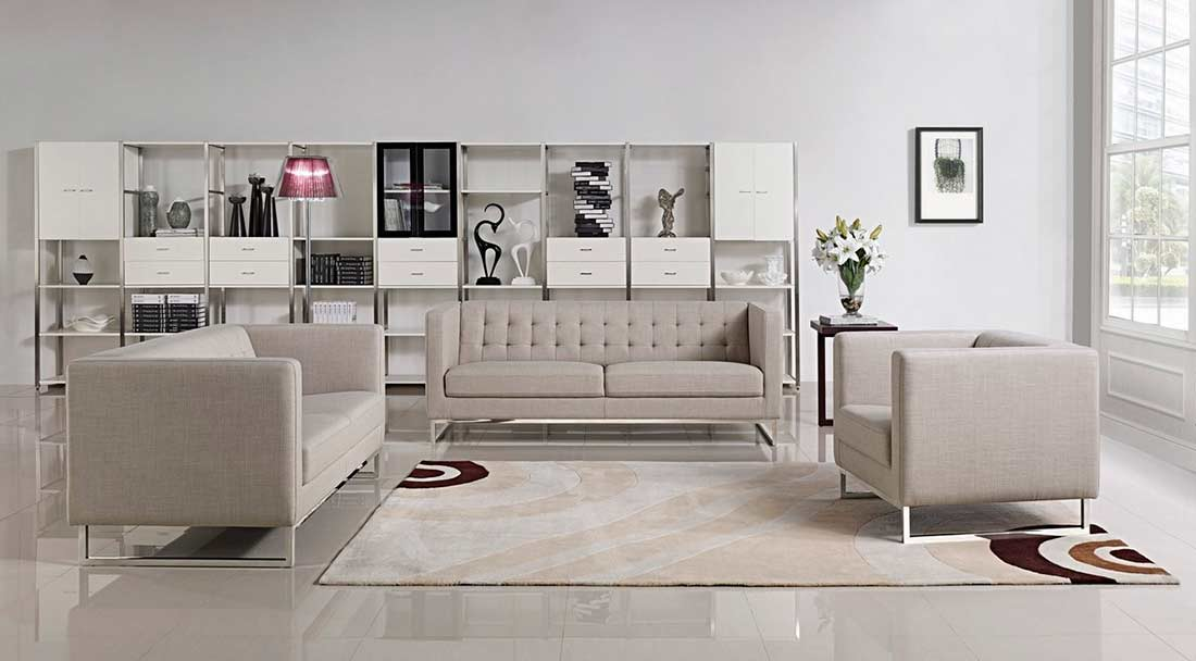 Contemporary Light Grey Fabric Sofa Set VG400