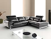 Top grain Black leather sectional sofa Zena