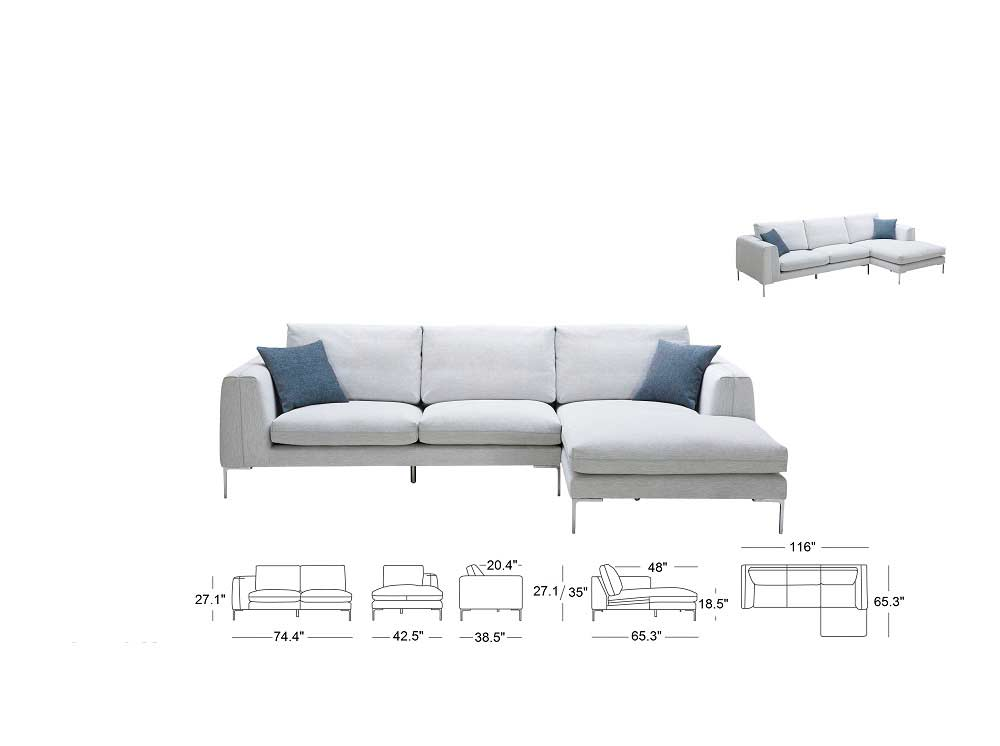 Beau ... Off White Fabric Sectional Sofa NJ Blanca