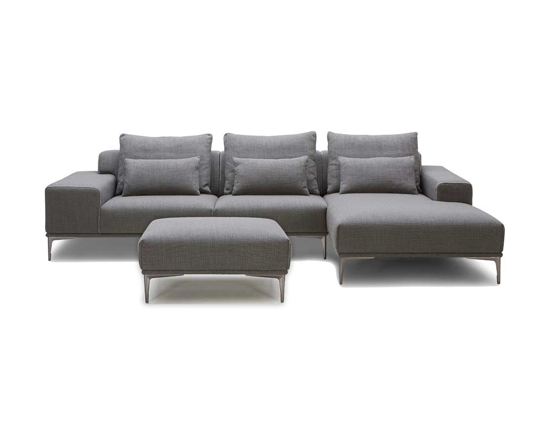 Grey Fabric Sectional Sofa With Ottoman Vg638 Fabric