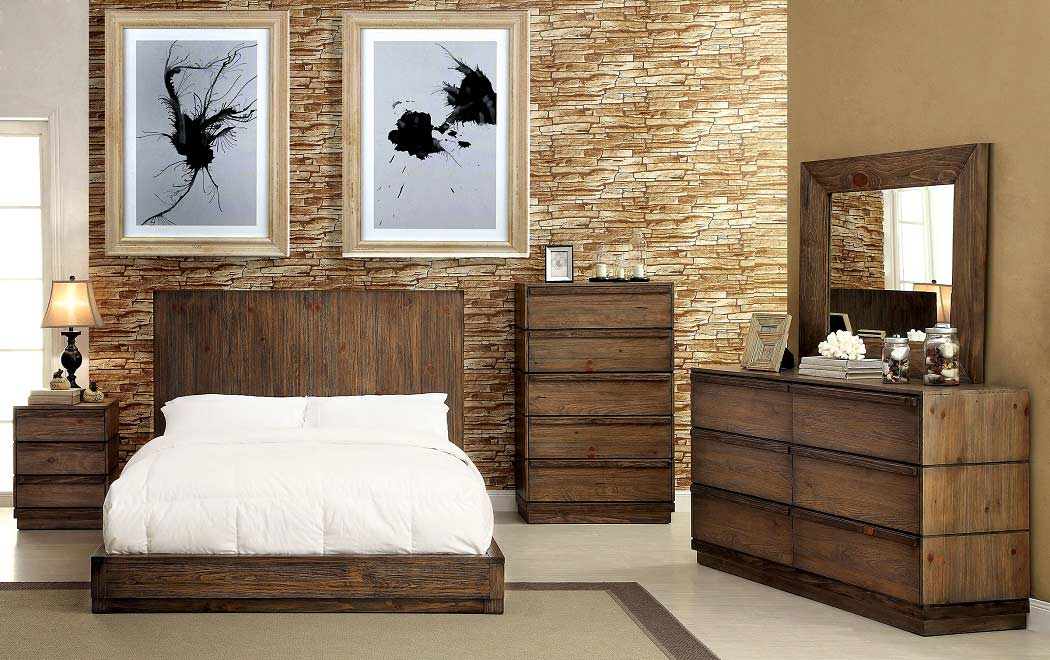 Low Profile Bed with Flat Wood Panel Headboard FA24 | Urban Transitional
