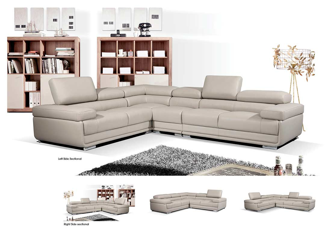 modern gray leather sectional sofa ef119 leather sectionals. Black Bedroom Furniture Sets. Home Design Ideas