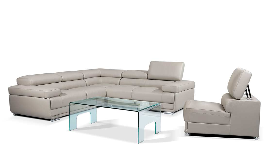 Modern Gray Leather Sectional Sofa EF119 Sectionals