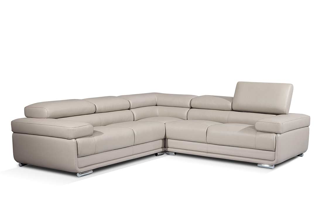 Modern gray leather sectional sofa ef119 leather sectionals for Modern sectional sofas