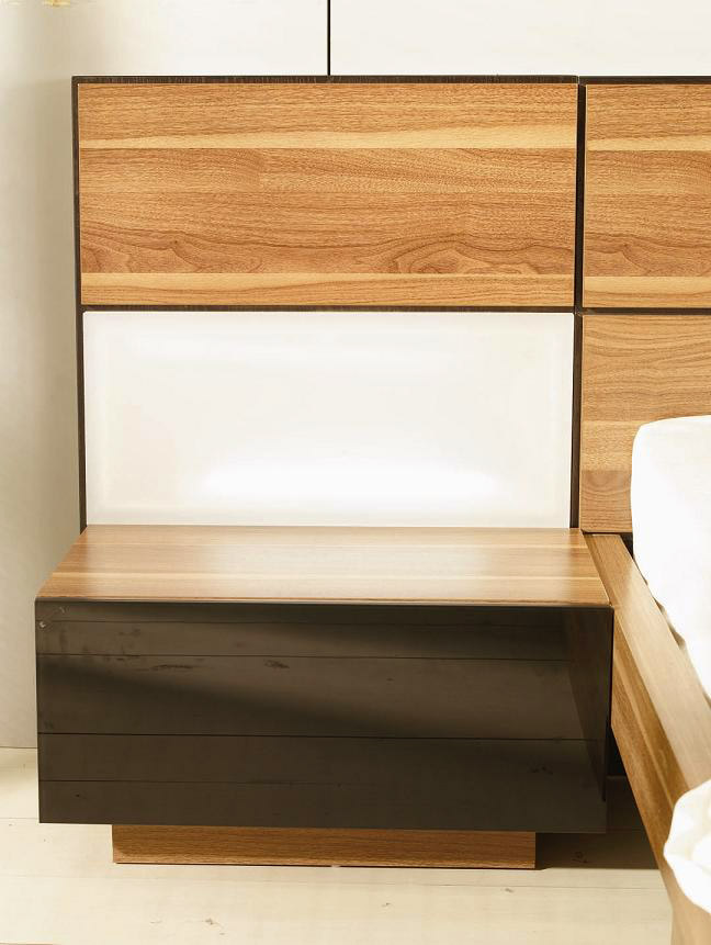 Rome Bedroom In Walnut Finish Contemporary Bedroom