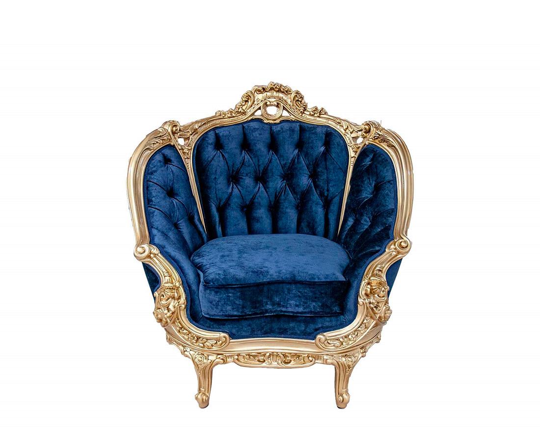 Marine Blue Velvet Provincial Chair 634 Provincial