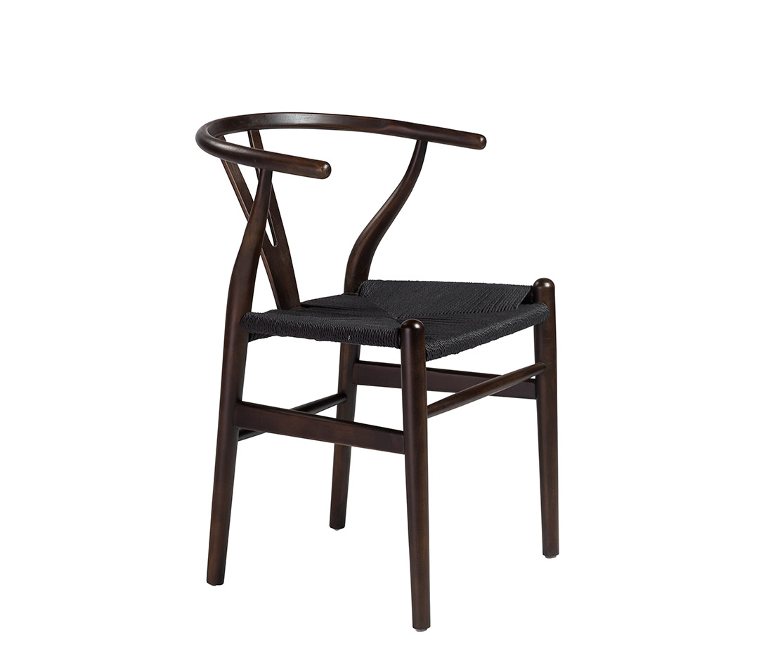 Side chair with black rush seat edana modern chairs for Modern black dining chairs
