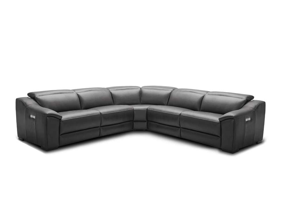 Silver Grey Recliner Leather Sectional Sofa Nj 775