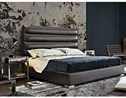 Brown tufted leatherette bed DS Brigitte
