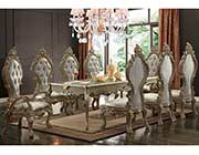 White Pearl Silver Dining table HD21031