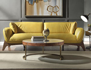 Mustard Top Grain Leather Sofa AC75