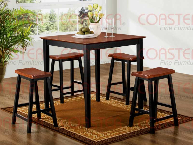 5pc Counter Height Dining Set In Two Tone Finish